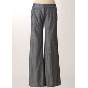 Anthropology wide leg denim/chambray trousers